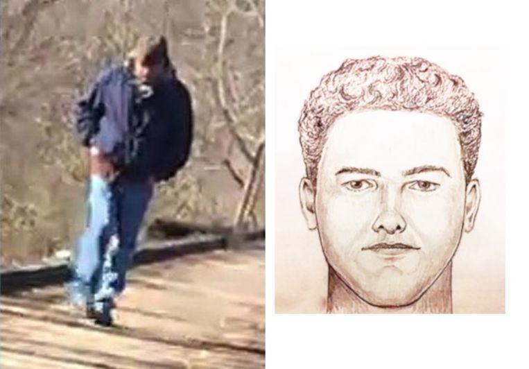 De man zoals hij op de videobeelden te zien is en een nieuwe robotfoto van de verdachte.