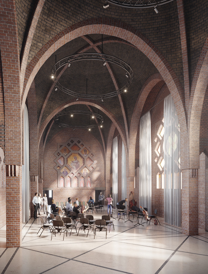 De Studentenkapel in het complex Mariënhage in Eindhoven wordt ook een kleinere ceremonieruimte. Ook hier wordt veel licht ingebracht.