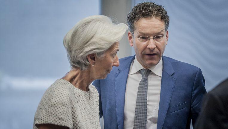 Voorzitter Christine Lagarde van het IMF en voorzitter Jeroen Dijsselbloem Beeld anp