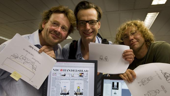 Fokke en Sukke-makers John Reid, Bastiaan Geleijnse en Jean-Marc Van Tol.