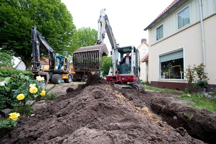 Aanleg van drainage in Hengelo.