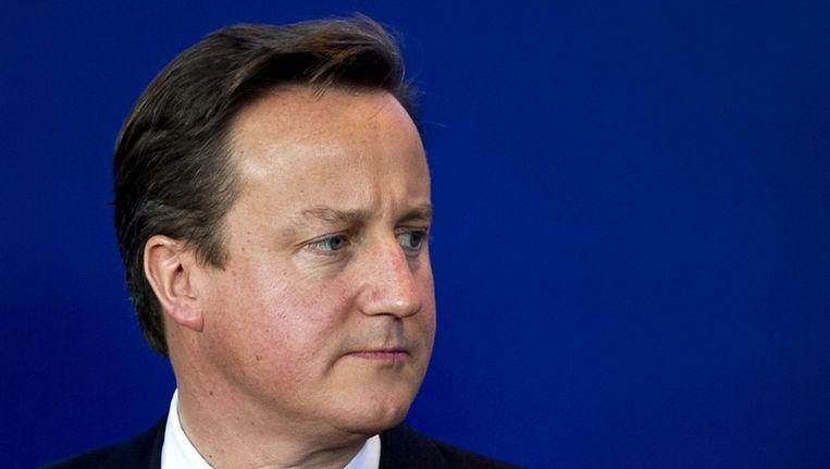 David Cameron vanochtend tijdens de Europese top. Beeld anp