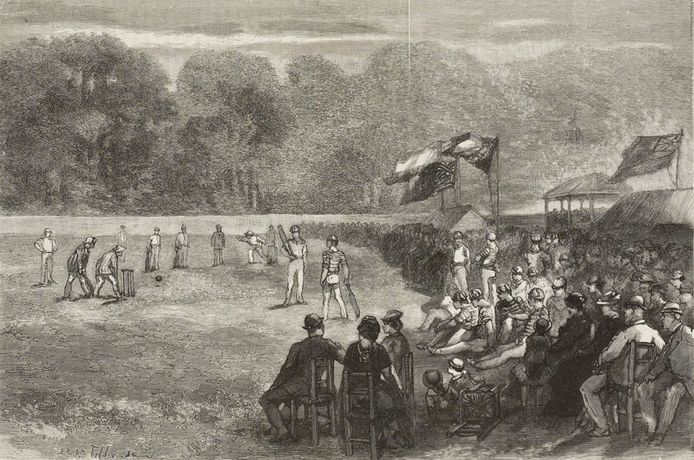 De cricketwedstrijd op de Maliebaan in Den Haag (augustus 1881) tussen het Engelse Uxbridge en een Nederlands mixteam met onder anderen Johnny Fransen van de Putte.