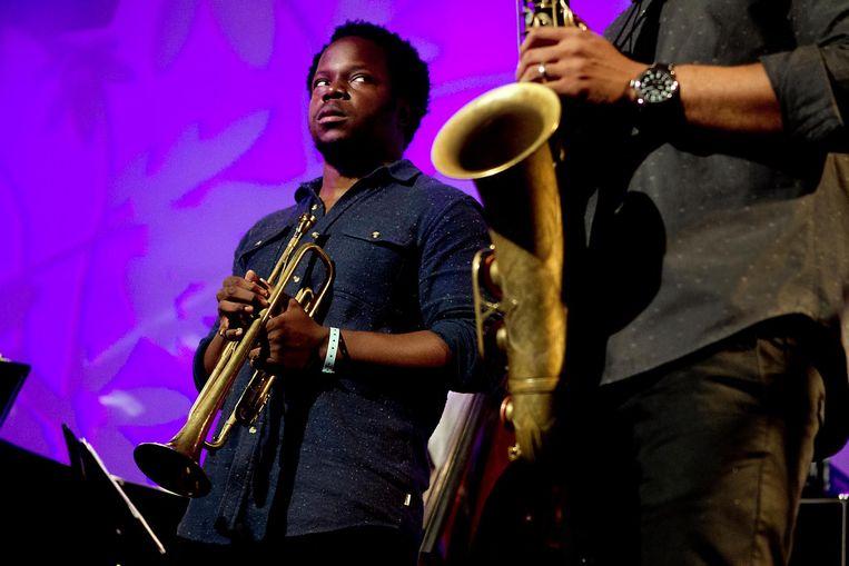 Akinmusire treedt op tijdens de 39e editie van het North Sea Jazz Festival, in 2014 Beeld null