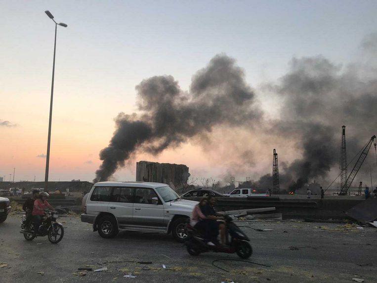 De oorzaak van de explosie in Beiroet is nog onbekend.  Beeld Ana van Es