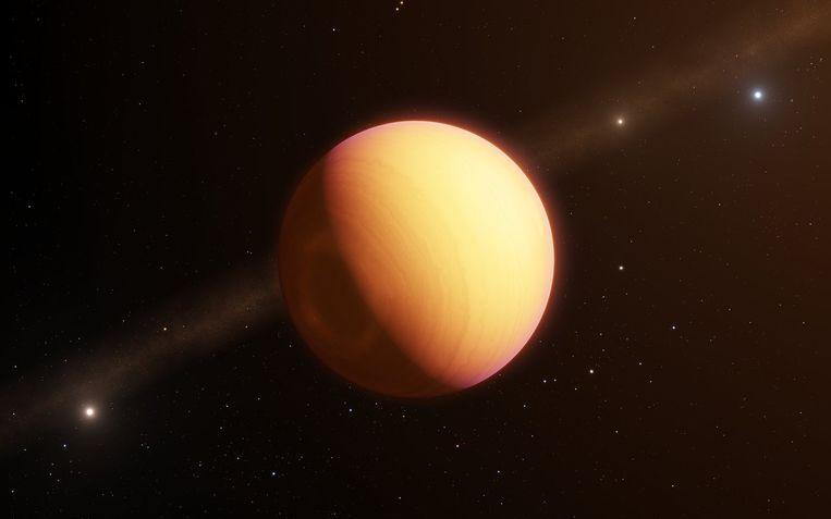 De atmosfeer van exoplaneet HR8799e, hier als artist impression, is voor het eerst nauwkeurig in beeld gebracht met een veelbelovende nieuwe techniek. Beeld ESO
