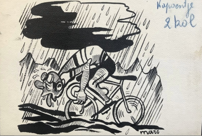 Een pentekening van Marc Sleen die geveild wordt.