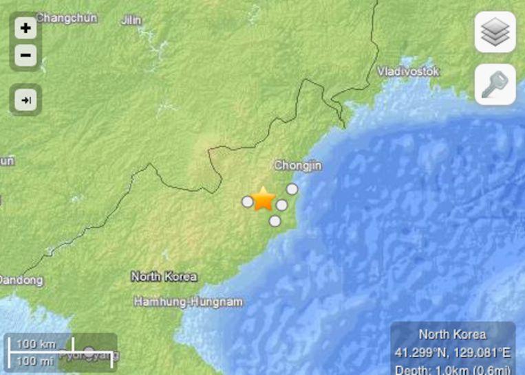 Screenshot van de website van de Amerikaanse geologische dienst USGS met het epicentrum van de beving. Beeld