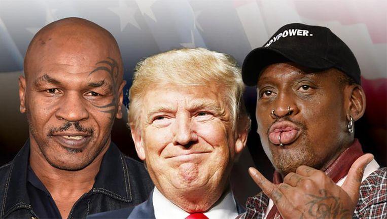 Mike Tyson, Donald Trump en Dennis Rodman.