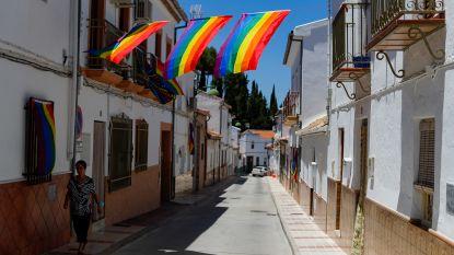 Honderden regenboogvlaggen overspoelen Spaans dorpje nadat reuzenvlag aan gemeentehuis werd verwijderd