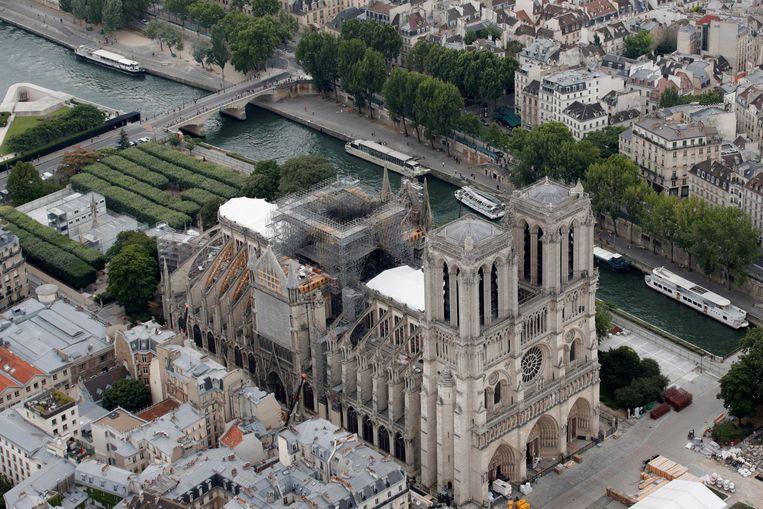 Een luchtfoto van de Notre-Dame