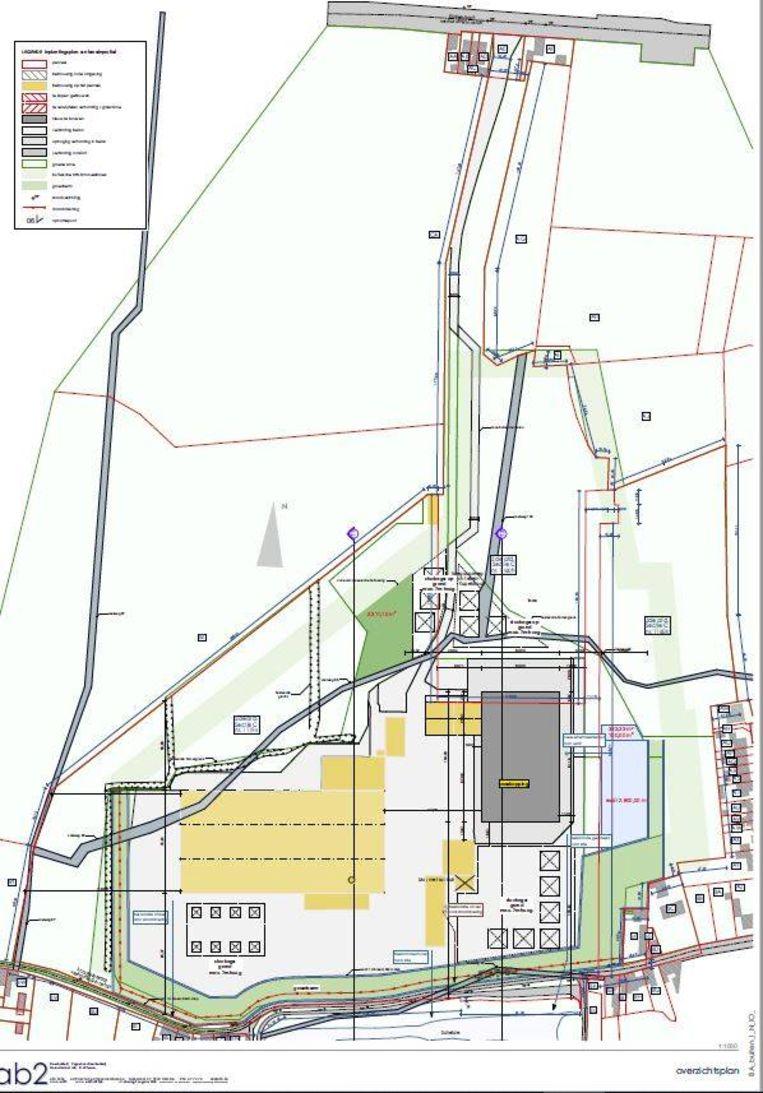 Het ontwerp van de firma Vagaetrans voor de site, bij de aanvraag voor de omgevingsvergunning.