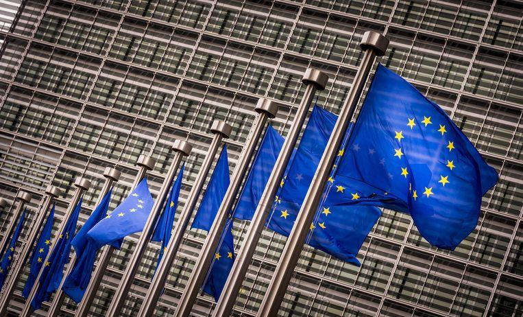 Europese vlaggen voor het Berlaymont gebouw in Brussel.  Beeld ANP XTRA / Lex van Lieshout