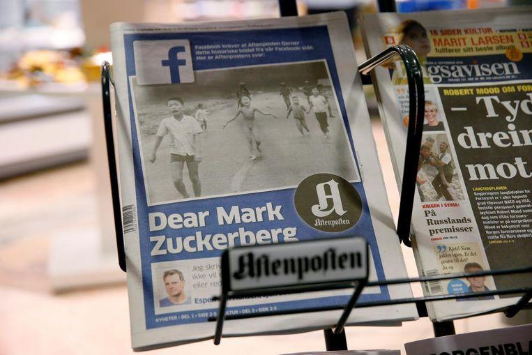 Twee weken geleden schreef de hoofdredacteur van Aftenposten al een open brief aan Mark Zuckerberg Beeld epa