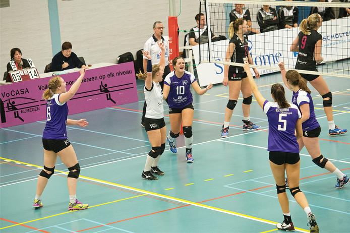 De volleybalsters van Vocasa boekten in de eerste divisie hun eerste overwinning. Archieffoto Bert Beelen