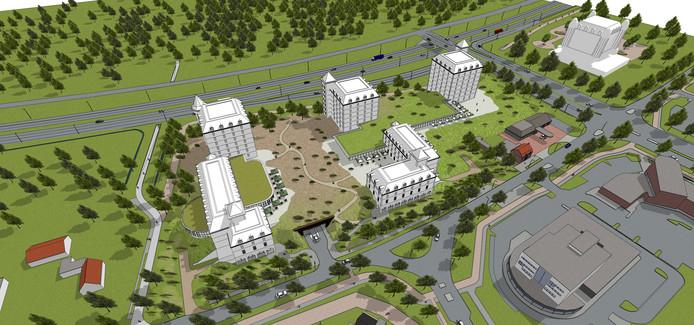Het nieuw te bouwen hotelcomplex in Kaatsheuvel komt tussen de Horst (onder) en de N261 (boven). Rechts het Efteling Hotel.