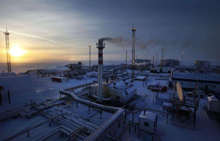 Olieveld van Gazprom bij Novoprtovskoye in Noord-Rusland Beeld afp