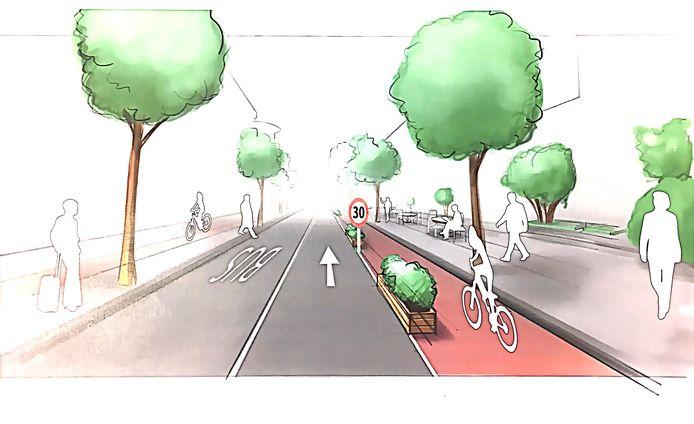 Een beeld van hoe de tijdelijke inrichting van de Vestdijk in Eindhoven, vooruitlopend op een definitief ontwerp, er uit zou kunnen zien.
