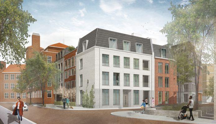 Nieuwbouw in het Zuidwalkwartier, hoek Prins Bernhardstraat-Oude Hulst. Met in de gevel een Mariabeeld.