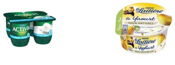 Magere yoghurt van Activia (links) is een gezond tussendoortje (A-score), de 100% natuurlijke yoghurt met peer van Nestlé La Laitiere krijgt slechts een C.