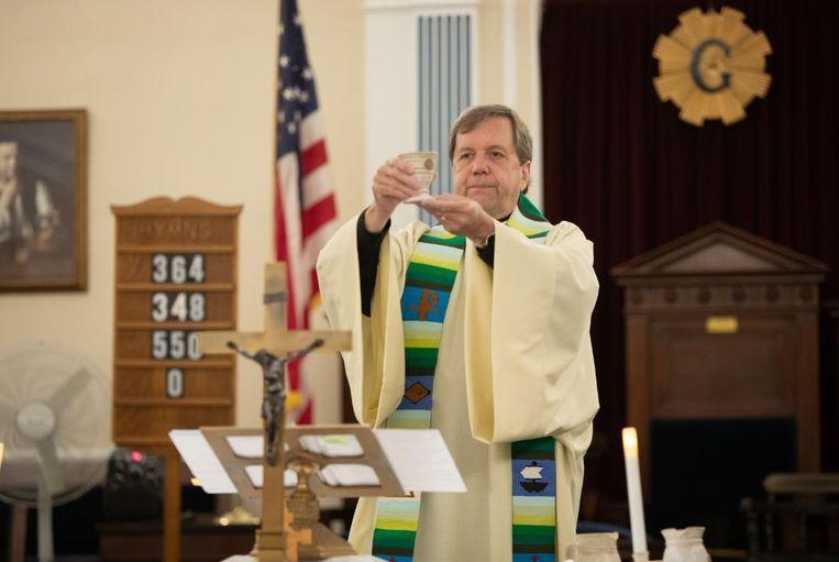 Deze zondag gaat priester James Griffin voor. Beeld Erik Jacobs