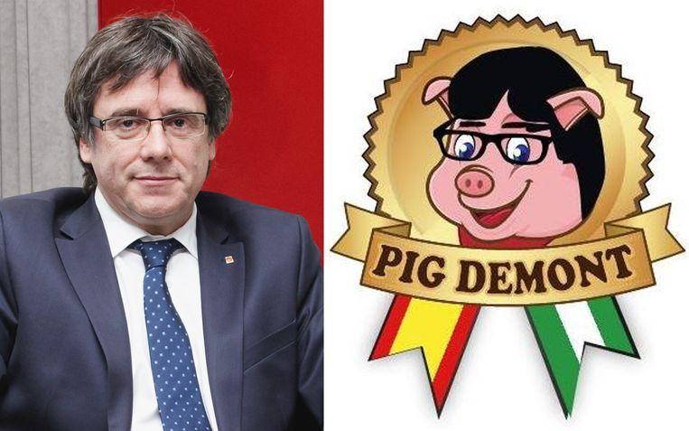 Volgens het bedrijf komt de naam van het Engelse 'pig' en het Franse 'du mont'. Ze ontkennen dat hun logo geïnspireerd zou zijn door de Catalaanse ex-leider.