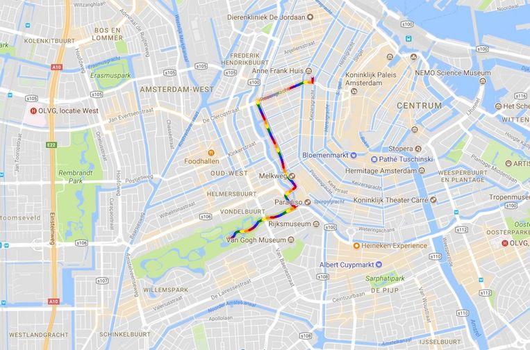 De route van de Pride Walk. Beeld Google Street View
