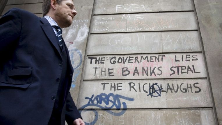 Protestleuzen in de Londense City. Beeld AFP