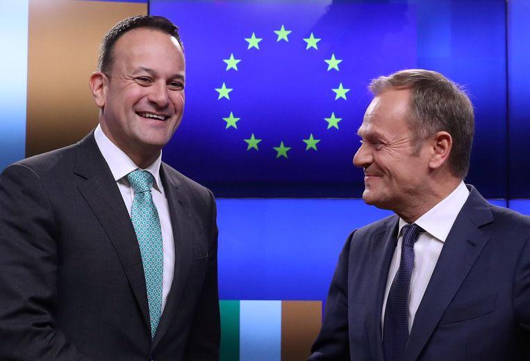 EU-president Tusk en de Ierse premier Varadkar. Beeld REUTERS