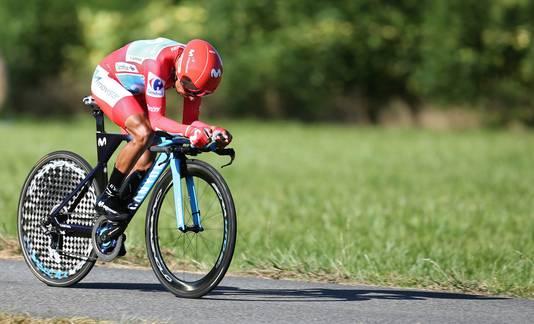 Nairo Quintana, voorlopig voor het laatst in de rode leiderstrui.