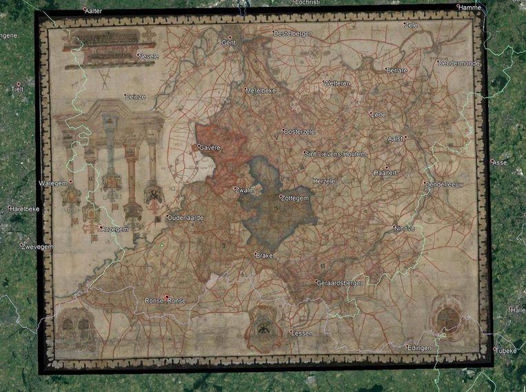 De kaart van het Land van Aalst, in 1626 gemaakt door cartograaf Philips De Dijn.
