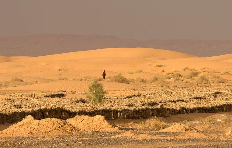 Man in de Sahara. Veel migranten trekken via de woestijn richting Noord-Afrika. Foto midden: Nederlandse militairen in Gao. Beeld AFP