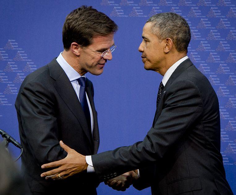 Premier Mark Rutte en de Amerikaanse president Barack Obama bij een bezoek van de president aan Nederland in maart. Beeld anp