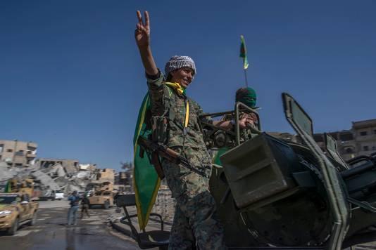 Koerdische strijders bij de bevrijding van Raqqa.
