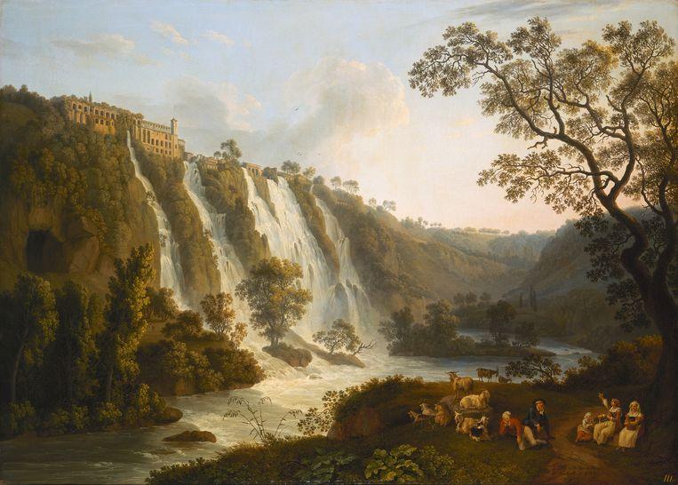 'De villa van Maecenas en de watervallen in Tivoli' van Jacob Philipp Hackert. Beeld © State Hermitage Museum, St Petersburg