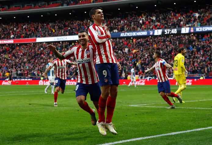 Morata juicht na de 2-1 namens Atlético.