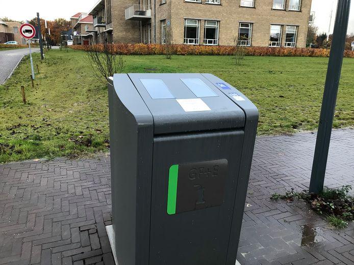 Een voorbeeld van een afvalzuil voor etensresten zoals die in Ede staan.