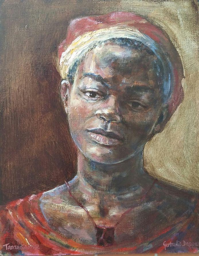 Het werk 'Gekleurde Schoonheid' van Gerda Dapper uit Apeldoorn. Het werk is geïnspireerd door Rembrandt. Echter niet met een parelketting en grote hoed maar als Rembrandt met een fluwelen mutsje en een Afrikaanse amulet om.