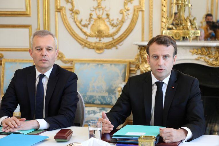 De Franse president Emmanuel Macron en minister François de Rugy.