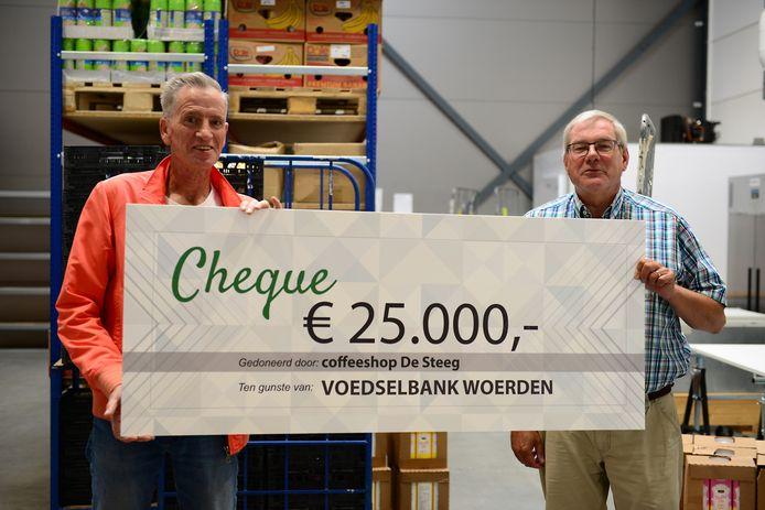 Leo de Bruin (links) en Henk Woertman met de cheque van 25.000 euro.
