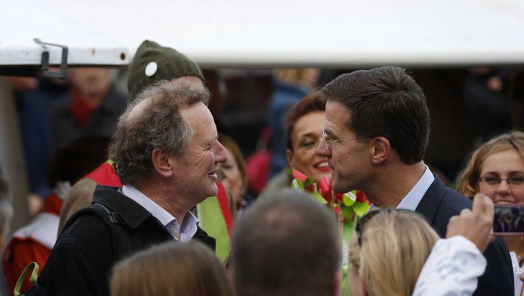 Bram van Ojik van GroenLinks en premier Rutte enkele maanden geleden in Leeuwarden. Beeld ANP