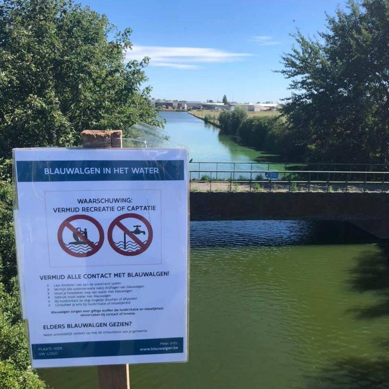 Aan de Koolhofvaart in Nieuwpoort waarschuwt een bordje voor blauwalgen.