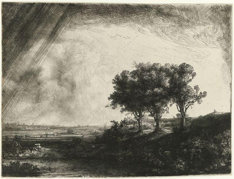 De drie bomen, Rembrandt van Rijn, 1643. Beeld Rijksmuseum
