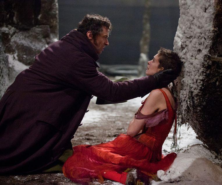 Hugh Jackman als Jean Valjean en Anne Hathaway als Fantine Beeld