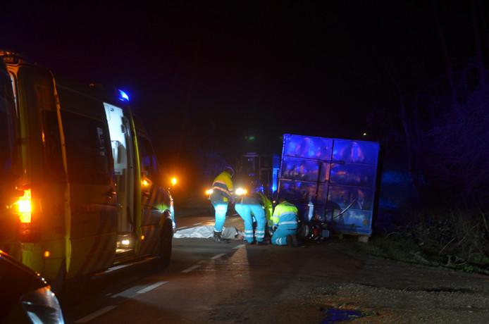De container op Bronsbergen bij Zutphen, waartegen op donderdag 25 januari een vrouw verongelukte.