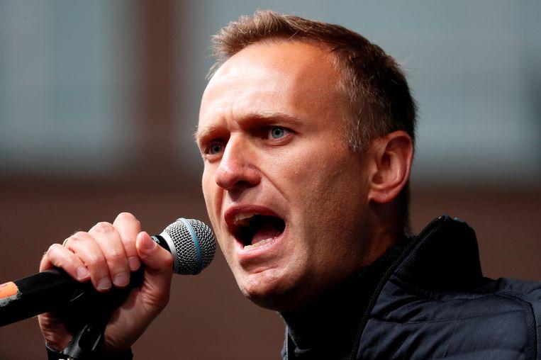 De Russische oppositieleider Alexei Navalny een jaar geleden tijdens een speech in Moskou. Beeld REUTERS
