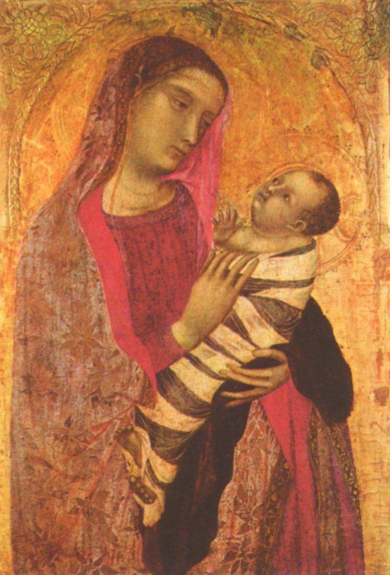 Een ingebakerde baby Jezus van Ambrogio Lorenzetti uit 1319 Beeld