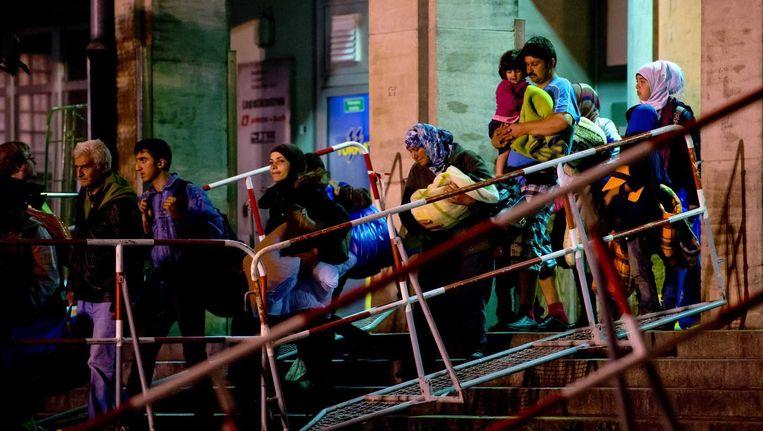 Vluchtelingen komen aan in München, 13 september. Beeld epa