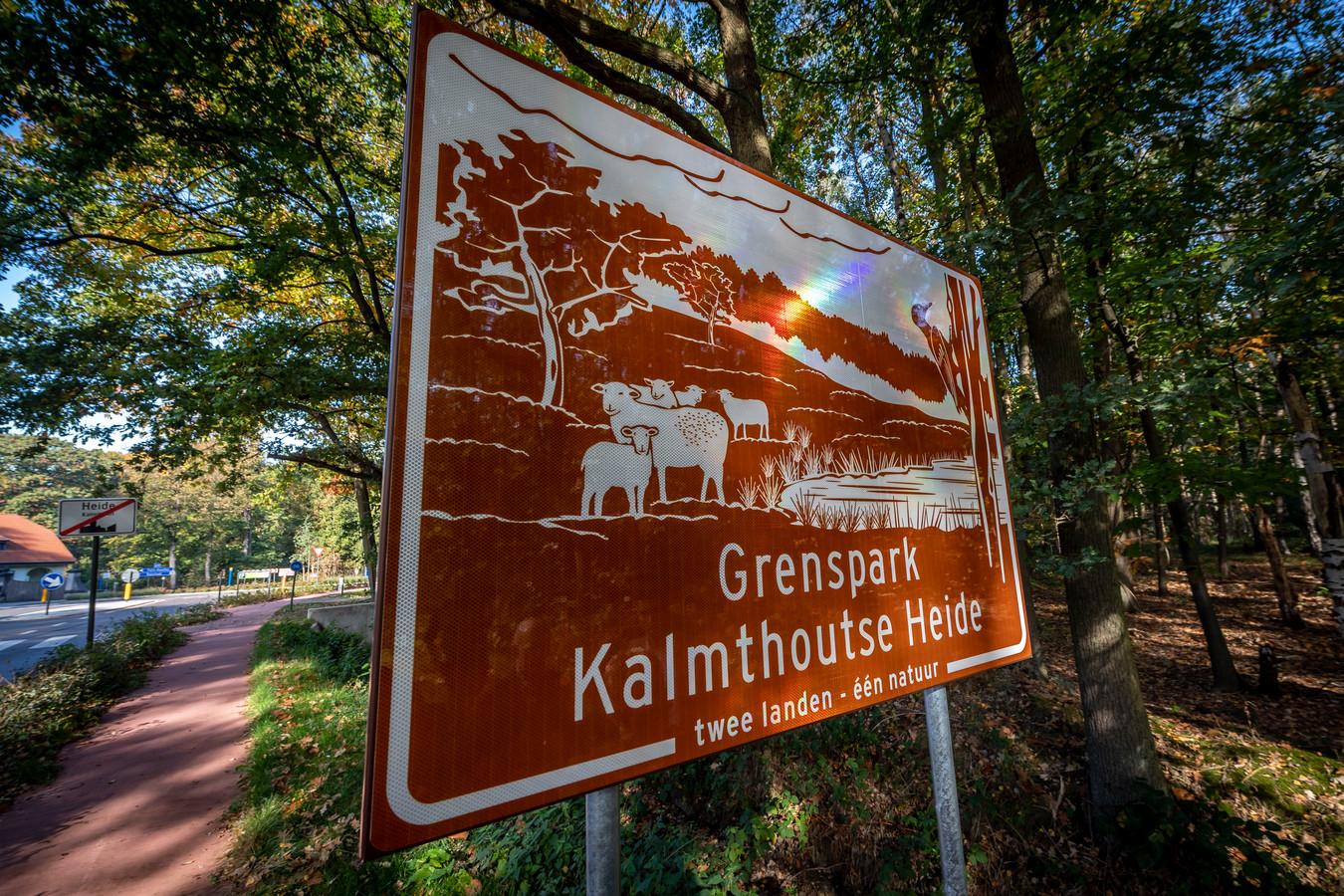 Het promobord bij Grenspark Kalmthoutse Heide.