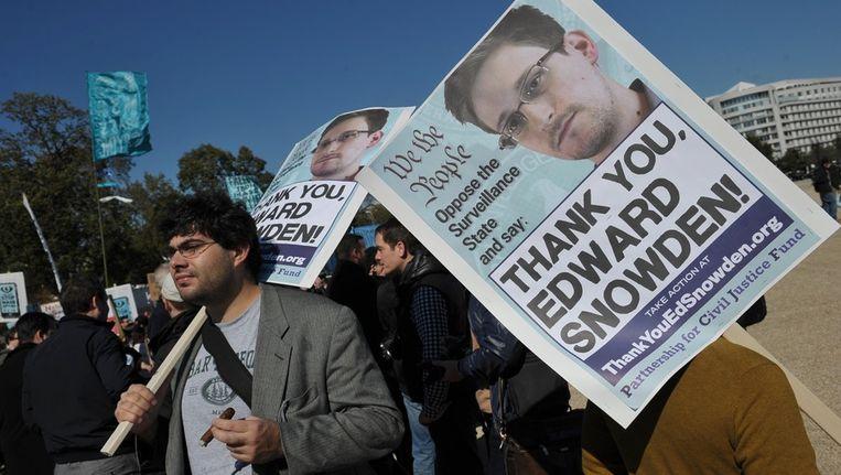Protesten tegen de afluisterpraktijken van de NSA Beeld ANP